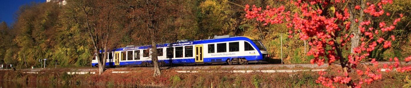 BRB auf der Strecke Eichstätt Stadt - Eichstätt Bahnhof am Haltepunkt Rebdorf-Kohlmühle